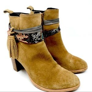 Callisto brown suede heeled ankle boots boho 7 B8